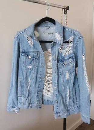 Джинсовка оверсайз topshop джинсовая куртка пиджак рваный