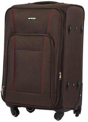 Чемодан дорожный (дорожная сумка) тканевый на 4 колёсах средний 1609 m wings ( коричневый / coffee )