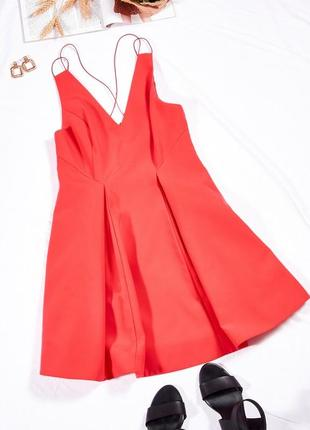 Яркое платье коктейльное, коралловый сарафан вечерний, коралловое платье летнее