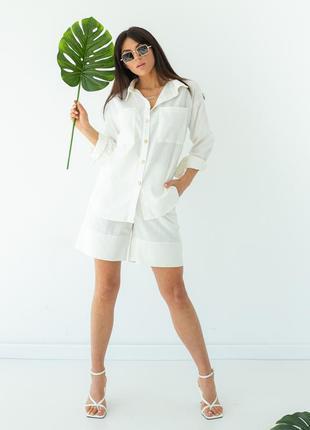 Женский костюм рубашка и шорты-бермуды  лен