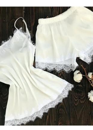 Молочная шелковая пижама майка с шортами, піжама