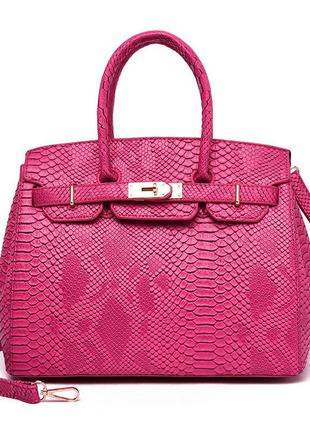 Кожаная малиновая сумка из крокодила birkin