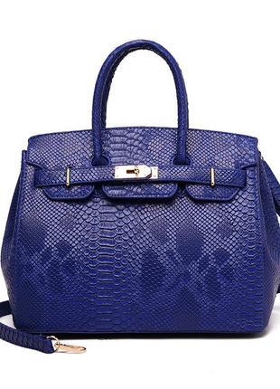 Синяя кожаная сумка из крокодила birkin