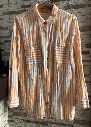 Летняя хлопковая яркая рубашка женска