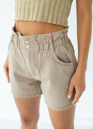 Джинсовые шорты багги с резинкой на талии