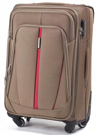 Чемодан дорожный (дорожная сумка) тканевый на 4 колёсах маленький 1706 s wings ( песочный / yellow )