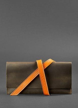 Шкіряний тревел-кейс voyager 1.0 темно-коричневий з помаранчевим - bn-tk-1-o-a