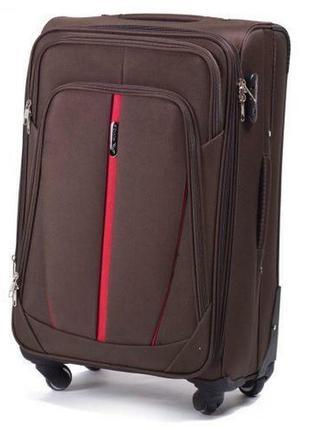 Чемодан дорожный (дорожная сумка) тканевый на 4 колёсах маленький 1706 s wings (коричневый / coffee)