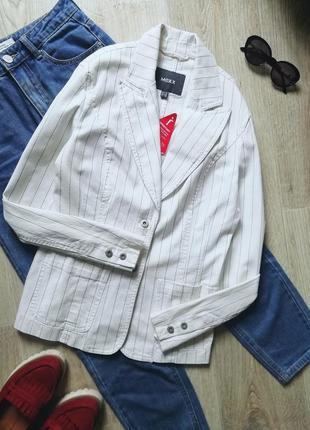 Mexx удлиненный пиджак в стиле оверсайз, жакет, удлинённый блейзер в полоску