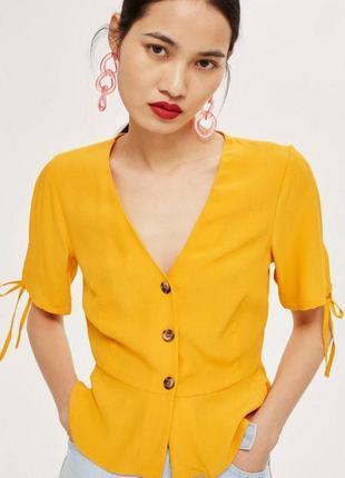 Классная блуза горчичного цвета на пуговицах✨