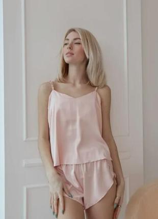 Шелковая пудровая пижама майка с шортами, піжама