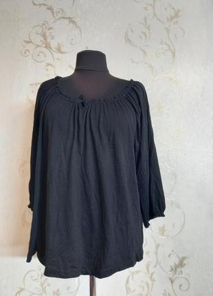 Коттоновая черная легкая батальная кофта кофточка блуза р 48-50 коттон