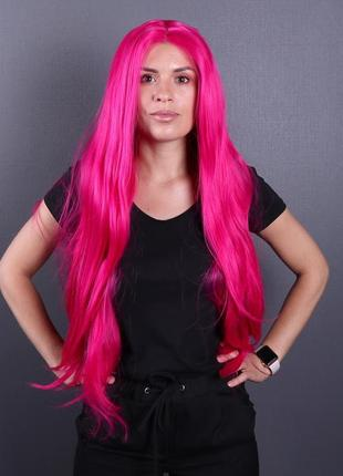 Парик zadira розовый (фуксия) женский длинный прямой на сетке из термоволос