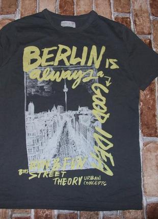 Стильная хлопковая  футболка мальчику  11 - 12 лет zara