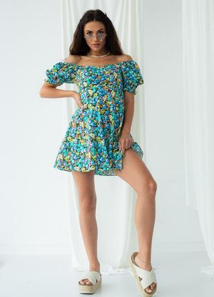 Цветочное платье мини с рукавами фонариками