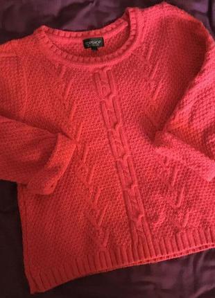 Ярко-розовый теплый свитер