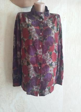 Шелковая цветочная блуза рубашка винтаж бордо принт цветы ретро