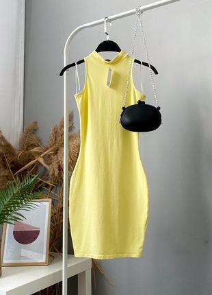 Трикотажное лимонное платье облегающего кроя river island