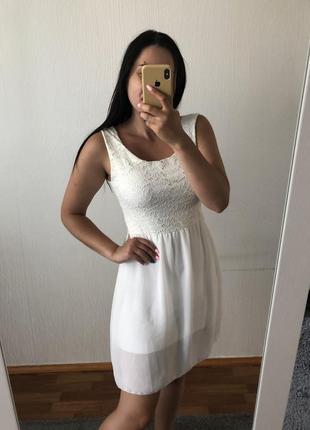 Белый милый лётный сарафан платье сукня плаття