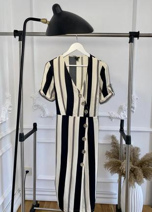 Вискозное, летнее платье на запах в полоску