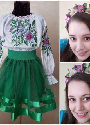 Нарядный костюм (вышиванка  юбка веночек )  вишиванка ,спідничка, віночок