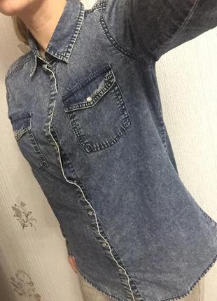 Джинсовая рубашка варёнка crop chillin