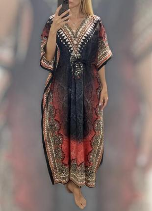 Длинное платье туника балахон в стиле бохо