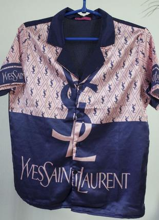 Пижамная блуза с коротким рукавом скользкая на пуговицах