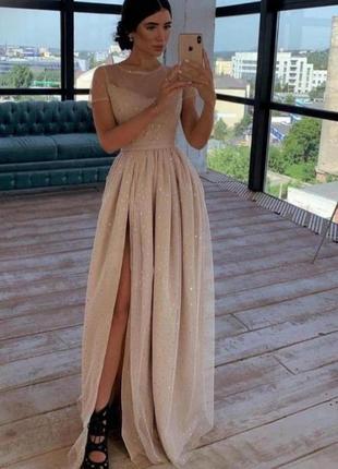 Платье жеское вечернее с евросеткой с блестками 24-70 размера