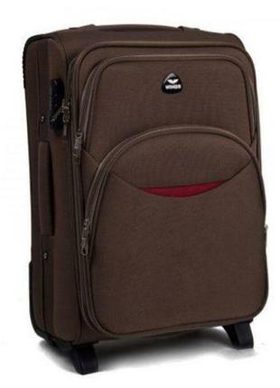 Чемодан дорожный (дорожная сумка) тканевый на 2 колёсах маленький 1708 s wings (коричневый / coffee)