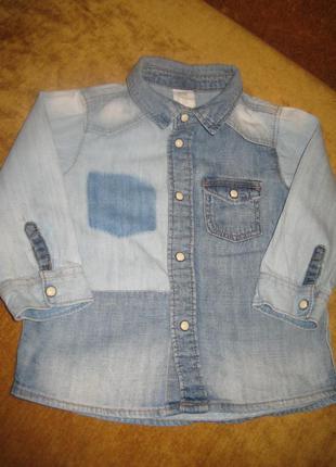 Джинсовая рубашка h&m 9-12 мес,рост до 80 см