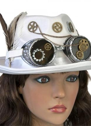 Белая шляпа в стиле стимпанк паропанк унисекс