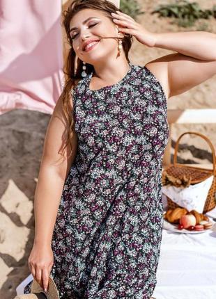 Стильное летнее платье с цветочным принтом батал + бесплатная доставка💫