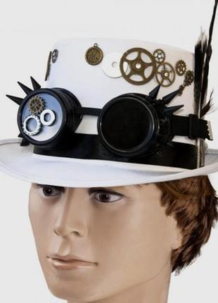 Шляпа-цилиндр стимпанк небесный капитан белая