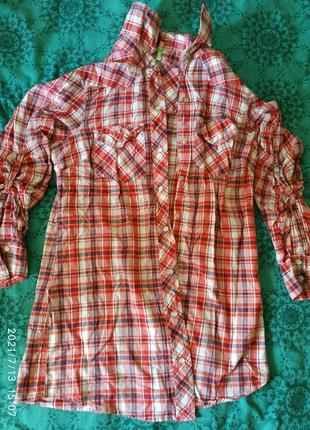 Стильная рубашка в клетку,с рукавом делается четверть и длинный, размер