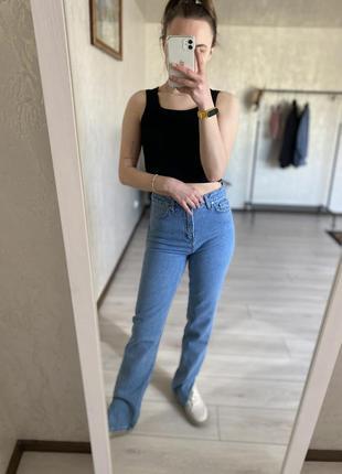 Сині голубі джинси з розрізом кльош мом широкі, широкие джинсы клеш