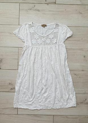 Женское легкое летнее платье туника с кружевом свободное без рукава пляжное