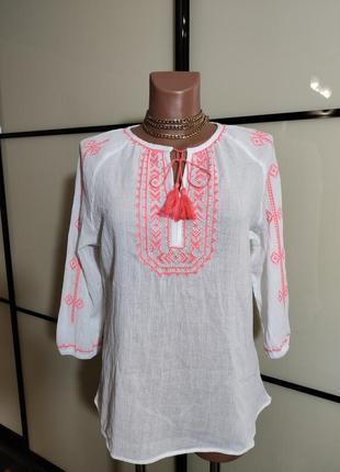 Tcm  tchibo белая легкая коттоновая блуза вышиванка eur 36