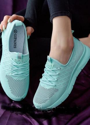 Мятні літні кросівки текстиль з перфорацією(мятные летние кроссовки)
