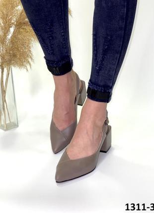 Женские кожаные туфли босоножки слингбэки