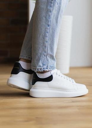 Alexander mcqueen white black leather кроссовки александр маккуин наложенный платёж купить