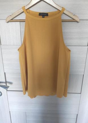 Красивый стильный яркий топ футболка яркая оранжевая на тонких брительках майка с м л