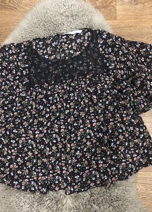Шикарная легкая блуза zara в цветочный принт