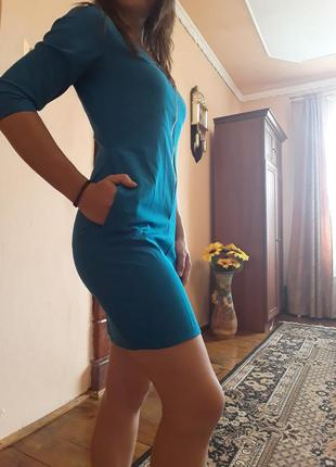 Новое мини платье глубокого голубого цвета, плаття для годуючих матусь