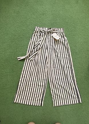 Летние лёгкие  свободные штаны кюлоты  с высокой посадкой