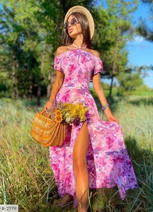 Длинное платье цветочный принт с разрезом и завязками