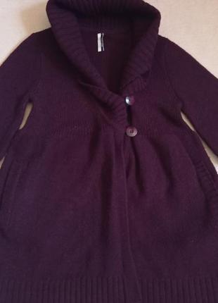 Темный бордо бургунд кардиган на пуговицах с карманами и воротником