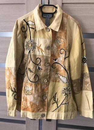 Пиджак- легкая курточка лён, коттон, indigo moon