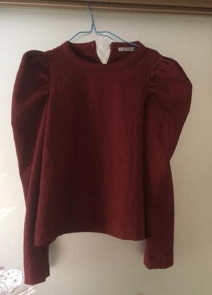 Блуза с рукавами фонариками zara