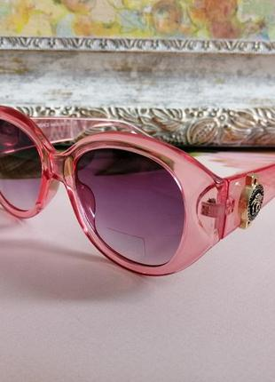Эксклюзивные розовые округлые  шикарные солнцезащитные женские очки 2021 + фирменный футляр